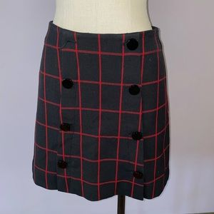 Red and blue checkered mini skirt